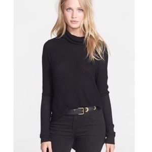 Free People Cowl Neck Thermal Knit Long Sleeve Top